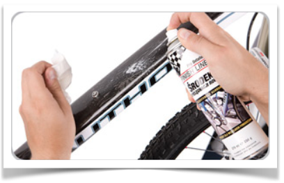 Med en polish bliver cyklen flot og blank - og skidt og snavs sætter sig ikke så nemt fast i lakken